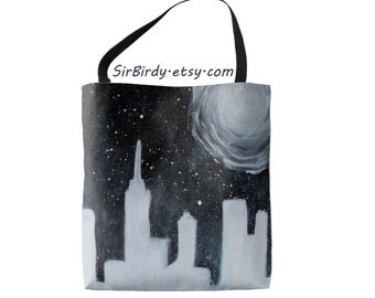 Galaxy Large tote bag 18x18  printed on both sides made to order blue waves buildings moon stars city scene cityscape