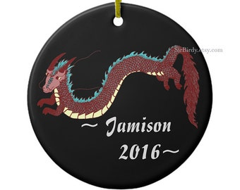 Dragon ornament fantasy dragon holiday ornament personalized ornaments Christmas ornaments made to order round ceramic dragon ornament