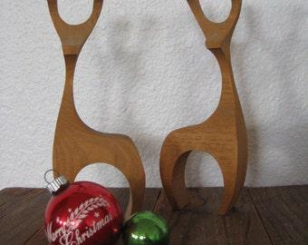 Set of Two Hand Cut Mid Century Christmas Reindeer