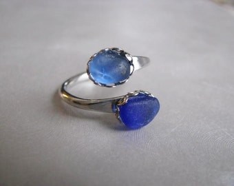 Sea Glass Ring - Cobalt and Cornflower Blue Ring - Beach Glass Ring - Unique Eco Friendly Ring