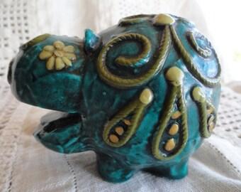 SALE!!  Holiday Fair Mod Hippopotamus, Deep Teal Green, Vintage Paperweight