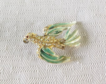1960s Vintage Bird Brooch with Green Enamel and Aurora Borealis Rhinestones