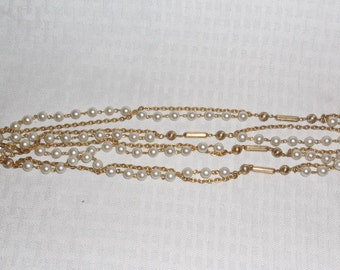 60s 70s Vintage Long Faux Pearl Gold Bead and Chain Necklace