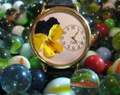 Purple Pansy Womens Watch, Purple and Yellow Pansy Watch, Women Watches, Flower Watches Women, Leather Watch Women Floral, Watches for Women