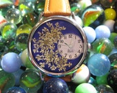 Womens Watch, Leather Wrist Watch, Navy Blue Watch, Queen Anne Lace Watch, Blue Wrist Watch for Women, Woman Pressed Flower Watch