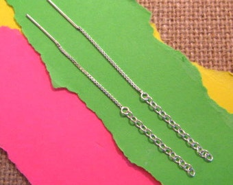 3 Inch Sterling Silver Ear Threads with Cable Chain - 1 Pair