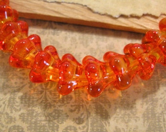 Czech Glass Orange 11x13mm Bell Flower Beads - 10 Count
