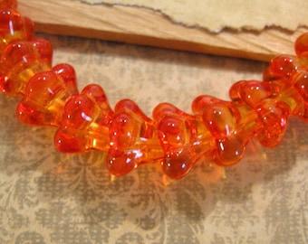 Czech Glass Orange 11x13mm Bell Flower Beads - 10 Count