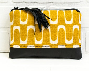 organic yellow zip bag, black leather, pouch, wallet, purse, card holder, phone bag, wholesale, tassel, makeup bag, handmade, stacylynnc