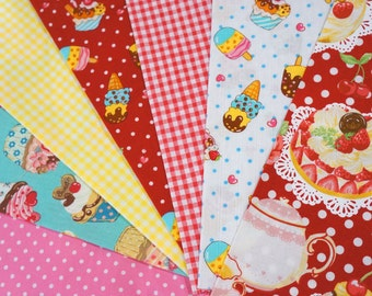 fabric scrap sweets dots gingham   total of 7  pieces  2016A