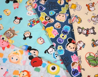 Disney Licensed Disney Tsum Tsum fabric scrap 25 by 50 cm or 9.6 by 20 inches each piece Printed in Japan ©Disney ©Disney/Pixar