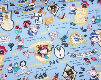 San-X licensed  fabric Kawaii Sentimental Circus  Half meter 50 cm by 106 cm or 19.6 by 42 inches