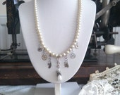 Steampunk Vintage Pearl Necklace