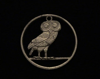 GREECE - Cut Coin Pendant - Athenian Owl - 1973