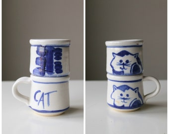 1980s Cat Stoneware Pottery Mini Cups~Gifts for Cat Lovers
