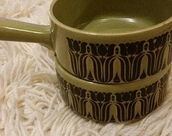 Sale - Green stoneware soup bowls