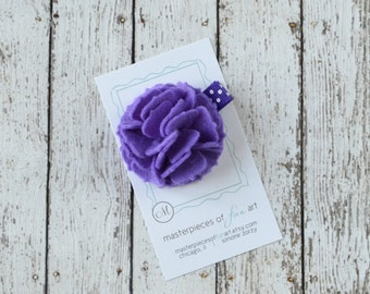 Delphinium Felt Carnation Flower Hair Clip on a Polka Dot Clippie - bright purple - felt flower hairbow - flower hair bow with non slip grip