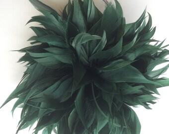FLEUR de PLUME,  Vogue Goose feather fascinator,  Oasis , Hunter Green / FDP - 34