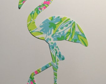 New custom Flamingo Pillow made with Lilly Pulitzer Coconut Jungle Fabric