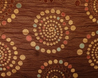Vintage YARDAGE Spirals brocade brown colorful Dots  Design 60 x 20  inches