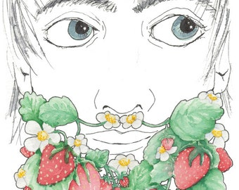 Strawberry Beard Art Strawberry Mustache Art Kitchen Art Manly Fruit Art Food Beard Gift for Guy Ready to Ship Strawberries Print Berries