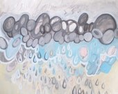 On a Foundation of Love I, original acrylic painting on canvas, abstract painting, raindrops, tears, rain