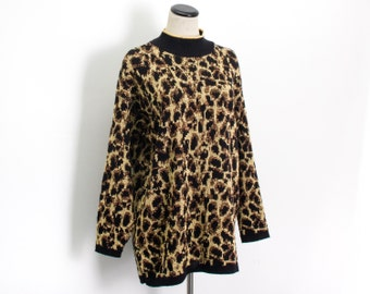 VTG 80's Metallic Glitter Leopard Print Knit Tunic Sweater (Medium) Punk Rock Print Long Sleeve Pull Over Long Sleeve High Neck