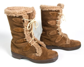 VTG 70's Wooly Winter Brown Suede Boots size 6 Womens Mid Calf Leather Faux Fur Lace Up Snow Boots Retro