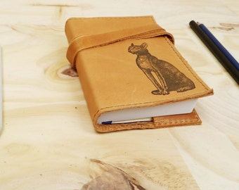 Small Leather Journal - Leather Sketchbook Cover - Personalize - Monogram - Egyptian Cat