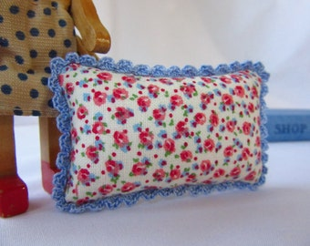 Miniature Pillow with Crochet Trim - MADE for YOUR DOLL in Spring Calico