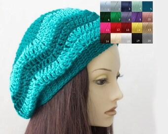 Womens Crochet Hat, Custom Chevron Hat, Slouchy Beanie,  Striped Vegan, Slouchy Hat, Winter Hat, Women's Hat