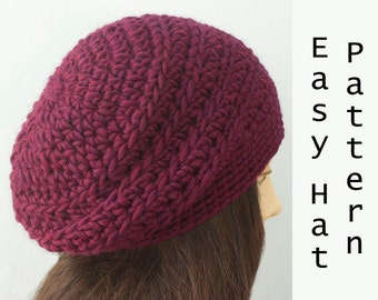 Chunky Beret Crochet Pattern, Slouchy  Hat Pattern, Fast, Easy Pattern, Instant Download, Hat PDF Pattern