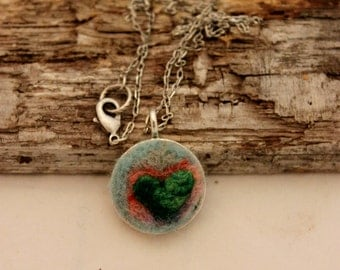 Felted Heart Necklace,Heartscapes Pendant Necklace, Needle Felted Heart  Necklace, Silver Heart Necklace #1685