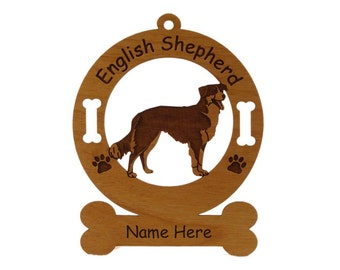 3162 English Shepherd Standing 2 Personalized Dog Ornament