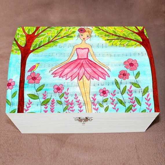 Ballerina jewelry box ballerina gift ballet girl by sascalia for Girls large jewelry box
