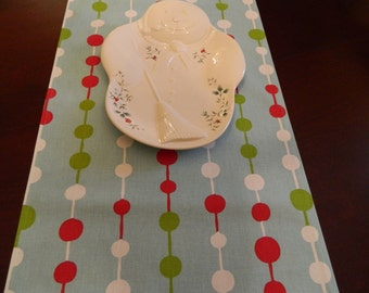 "Christmas Table Runner. Red, White, Green on Light Blue Table Runner. 84"" Table Runner. Holiday Runner."
