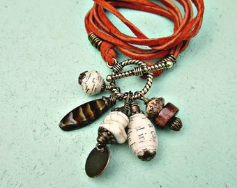 Necklace, Convertible Rust Suede Cord with Beaded Gold Toggle Clasp: Sally