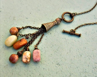 Adjustable Long Rustic Brass Front Clasp Y Necklace with Stone Tassel Pendant: Bradenton