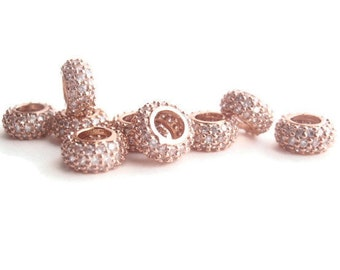 1 Cubic Zirconia (CZ) European Bead, Jewelry Making Supply, Rose Gold Color Rondelle, clear CZ Pave Set
