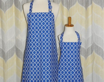 Blue Quatrefoil Mommy and Me Matching Apron Set for Adult and Child - Free OR Priority Shipping
