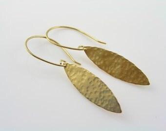 Hammered Leaf Earrings, Handmade Golden Brass Earrings, Artisan Earrings, Handmade Jewelry, Gift Idea