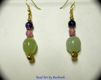 Jade, Pearl and Agate Gemstone Fashion Long Dangle Fashion Earrings for Every Day Wear