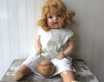 Vintage doll cloth and composition flirty eye mama doll cute creepy shabby vintage toy
