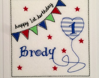 Bunting Birthday Card - Name of your choice