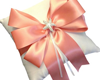 Nautical Ring Bearer Pillow - Ring Pillow - Ring Cushion - Starfish Ring Pillow - Beach Wedding - Peach Wedding - 30 colors available