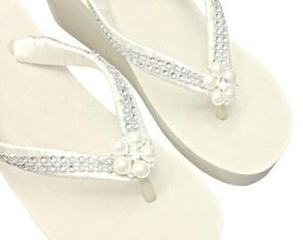 WEDGE Wedding Flip Flops  - Bridal Wedge Flip Flops - Pearl and Rhinestone Flip Flop - Bling Flip Flops - Beach Wedding  Platform Flip Flops