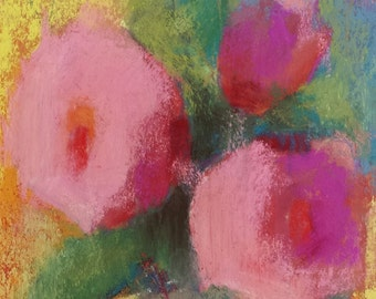 """Small Original Pastel Painting, Roses, Floral, 5 x 7"""", Unframed, Wall Art, Cottage Chic"""