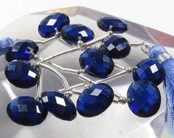 25% Off Sale Rose Cut Kyanite Blue Quartz  Briolette  Beads, 3 Pair 1/2 Strand, East West Oval Briolette Beads,