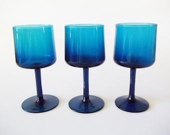 Turquoise Blue Wine Glasses, Mid-Century PeeDee Glass Italy / Scandinavian, Set/3
