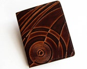 Leather Money Clip Wallet with Art Deco Design - Spring Steel Clip